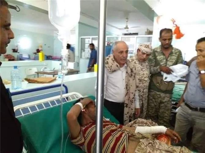 انتقالي الضالع يتفقد الجرحى في مستشفى النصر العام